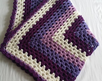 READY TO SHIP!!!!! Crochet purple and white Granny Square Blanket, Crochet Blanket, Granny Square, Baby Blanket, Baby Shower
