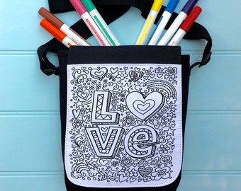 Love Colour In Bag For iPad across the body strap Colouring in Adult Activity Girls Colour In Handbag Hours Of Fun Colouring In