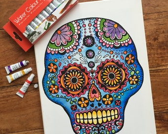Colouring In Painting Kit Candy Skull Canvas Kit Watercolour Paints Adults and Children's Colouring in Unisex Craft Activity Painting