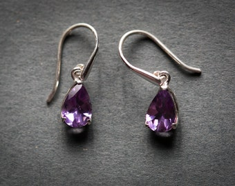 Amethyst Earrings - February birthstone earrings - Amethyst dangle earrings - Amethyst earrings - Sterling Silver - Amethyst Earrings