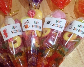 X5 large halloween sweet cones Filled with sweets Perfect trick or treat favours pumpkin  ghost witch vampire