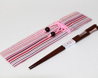 Wooden Chopsticks and Chopsticks Bag Pink