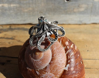 Beach Inspired Jewelry - Octopus Ring - Wedding - Beach Jewlery -  Gift - Birthday Gift - Bracelet