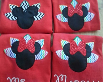 Disney Thanksgiving Mickey or Minnie Mouse Applique Short Sleeve Shirt