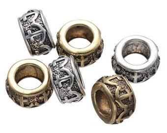 10 PC golden silver mixed color dreadlock metal beads braid cuff 8mm Hole D02