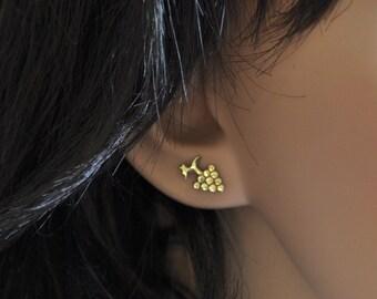 Gold Grapes Earring , 14 k Gold Post Earrings , Gold Stud Earrings , 14k Gold Earrings , Small Fine Earring , Solid Gold Earrings Stud