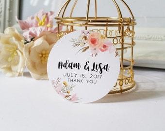 Wedding Thank You Tags, 24 Favor Hangtags, Custom Favor Bag Tags, Floral Tags for Wedding Favors