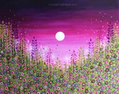 Flower Meadow 30 x 24 inch Purples Mauves Pinks