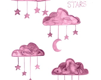 Pink Clouds Stars Moon