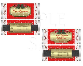 Santa's Suit Printable Candy Wrappers, Digital Download, DIY Printable,Christmas,Holiday
