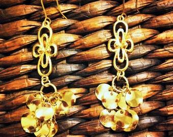 looped dangle gold cluster earrings