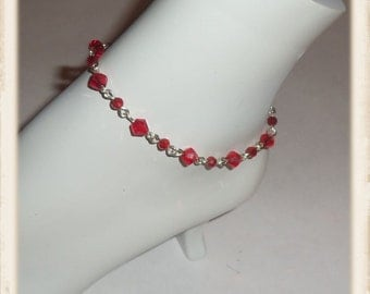 Crystal ankle bracelet, red Swarvoski crystal anklet, red ankle bracelet, gifts for her, bridesmaid gifts, foot jewelry