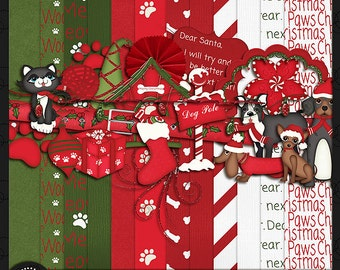 "Digital Scrapbook Kit, ""PAWs-a-tively Christmas"" Pets"