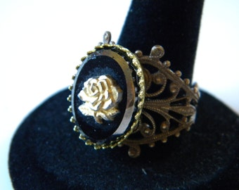 Gold Rose Cameo Ring Vintaj Adjustable Filigree Ring Carved Gold Rose Black Glass Cameo