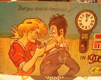 """Vintage """"Don't You Think It's Time To Marry?"""" Postcard - Postmarked Circa 1909 - Great Vintage Condition!!"""