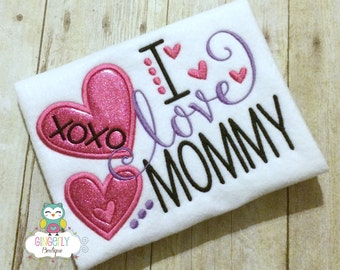 I Love Mommy Shirt or Bodysuit, Mothers Day, Mommy's Girl, I Love Mom Shirt, Mommy is my friend, I love mommy, Girl I love my mommy