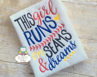 This Girl Runs on Seams and Dreams Softball Shirt, Girl Softball,Softball Season, Girl Softball Shirt, I Love Softball, Softball Player Gift