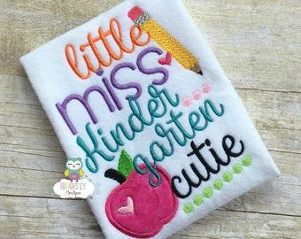 Little Miss Kindergarten Cutie Shirt,  Girl Back to School Shirt, First Day of School Shirt, Kindergarten Shirt, Little Miss School Shirt