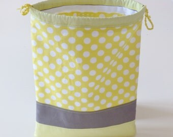 Baby bag, drawstring bag, snack bag, yellow, kids tote bag, book bag, preschool bag, storage pouch, pouch bag, sliding bag, patchwork fabric