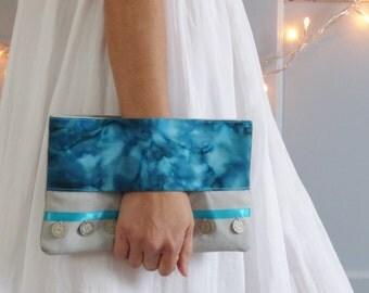 Wrist wallet, aqua blue and grey clutch bag, boho clutch, fabric, handbag, pouch bag, purse, Birman coins