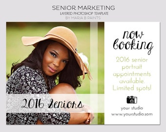 INSTANT DOWNLOAD, Senior Photography Marketing Postcard, Photography Session, Senior Portraits, Yearbook, Booking now