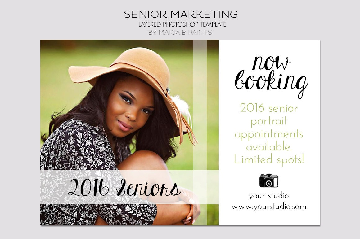 Instant Download Senior Photography Marketing Postcard