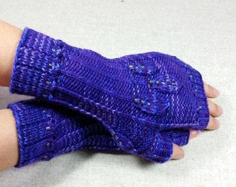 Fingerless Gloves violet, with leaves, beads, wool, mittens for women, elven gloves, LARP