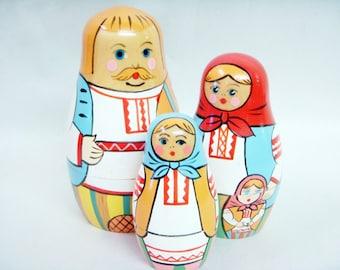 USSR Babushka Matryoshka Dolls Set of Three