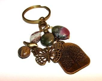 Charms keychain. Keyring. bronze keychain. Beaded keychain