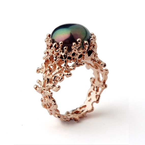 CORAL Black Pearl Ring Unique Rose Gold Engagement By
