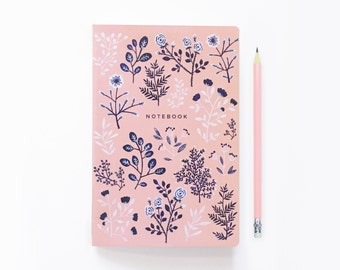 Pink and Navy Flowers - Bullet Journal