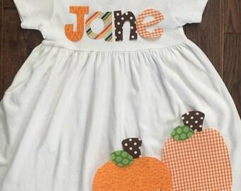 Fall Dress-Pumpkin Dress-Pumpkin Appliqué Dress-Toddler girl dress-Personalized pumpkin Dress