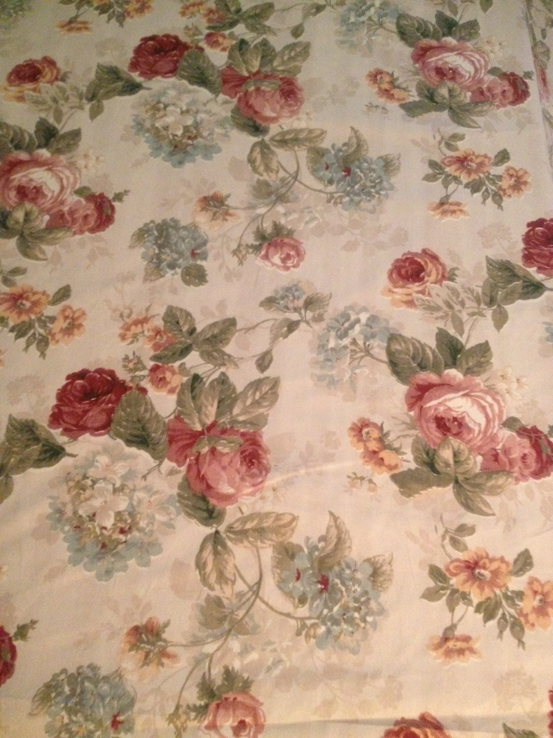 Vintage style rose floral chic printed cotton fabric on for Printed cotton fabric