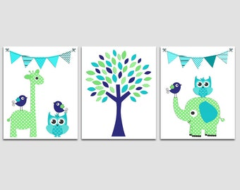 Turquoise, green and royal blue Nursery Art Print Set, baby boy Room Decor, flag, giraffe, owls, tree, love bird, elephant - UNFRAMED