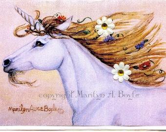 ENHANCED FANTASY CARD; blank card, unicorn, 3-D flowers, gems, sparkles, for her, 5 x 7 inch, Valentine's day