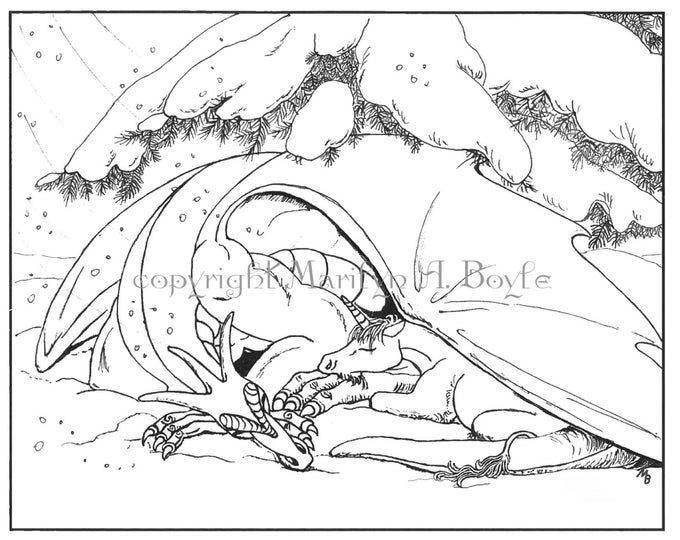 COLORING PAGE - FANTASY; Dragon and young Unicorn; fantasy, digital download, pen and ink drawing, for adults and child