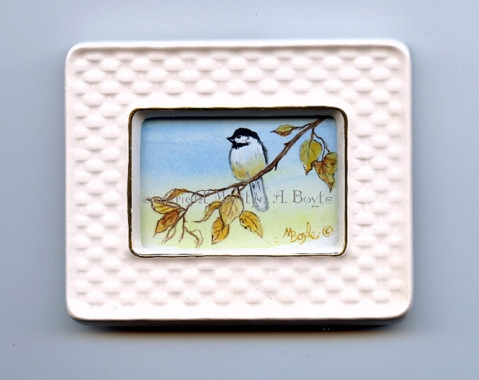 ORIGINAL MINIATURE ACRYLIC Painting; ceramic frame, chickadee and fall leaves,  Canadian art, 3 x 3.75 inches,