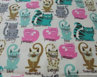 Flannel Fabric - Kitty Breeds - 1 yard - 100% Cotton Flannel