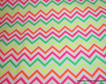 Flannel Fabric - Chevron Neon - 1 yard - 100% Cotton Flannel