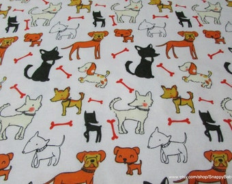 Flannel Fabric - Dogs Friends - 1 yard - 100% Cotton Flannel