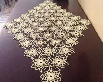 cream and brown crochet beaded doily