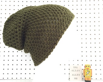 HiTop Tall Beanie hat in Moss Green handmade textured crochet slouch hat