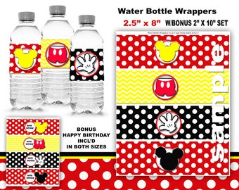 Mickey Mouse water bottle wrapper Party Mickey Mouse birthday  Printable Mickey Birthday Mickey Party Mickey water bottle wrapper minnie