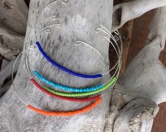 Seed Bead Memory Wire Bracelets Set of Five Bangles