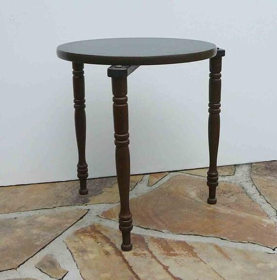 Vintage Nesting Table Black Wood Mid Century Side