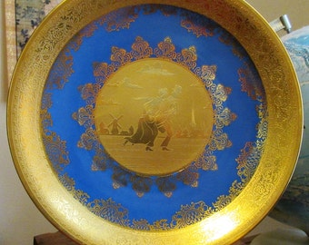 "Four Seasons Cobalt Blue & Gold Collector Plate by RECO ""Winter"""
