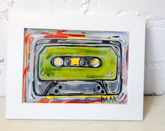 Original hand painted cassette art by Bear