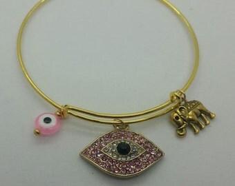 Evil eye gold womens bangle bracelet, evil eye pink bracelet, evil eye and elephant bangle bracelet, evil eye rhinestone bangle bracelet