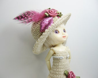 Amelia Thimble and Ty Li'l One Doll Clothes Outfit only Handmade Beige Crochet dress and hat