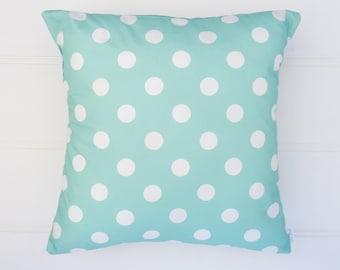 Aqua Polka Dot Cushion Cover